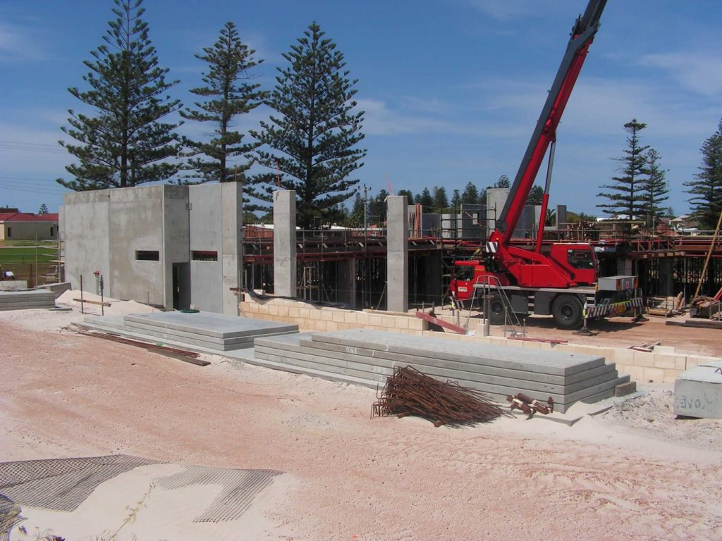 A red crane at building site in Geraldton, Western Australia